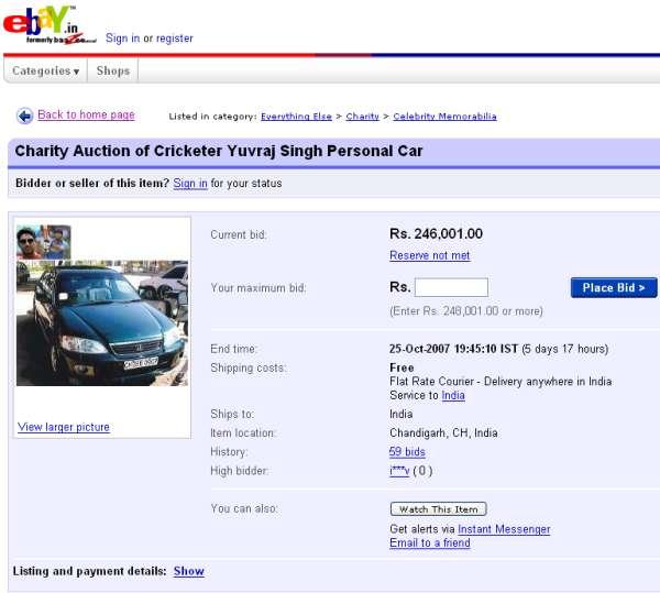 Yuvraj Singh Ebay Auction