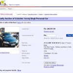 Charity Auction of Yuvraj's Car on Ebay India