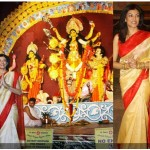 Sushmita Sen and Sumona Chakravarti at Durga Puja